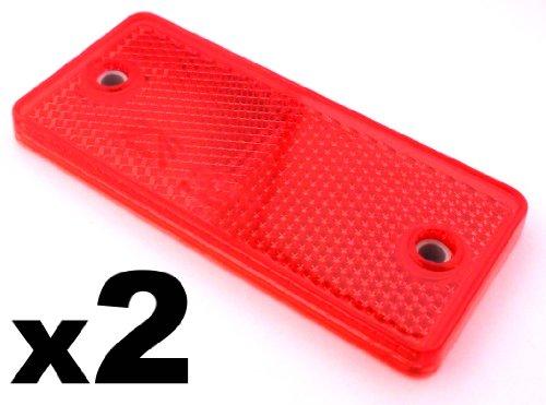 2x Rote Reflektoren 90mm x 40mm - Rückstrahler Katzenaugen Rückleuchten -Wohnwagen und Anhänger - Kostenloser Versand!