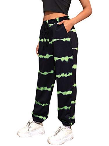 SOLY HUX Pantalones de chándal para mujer, pantalones de chándal para correr, pantalones de yoga con cordón negro y verde XS