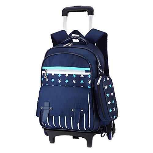 DFRgj Schultasche Rucksack Rolling Trolley Taschen Schüler, Schultaschen, Jungen und Mädchen, wasserdichte Kletterstufen mit sechs Rädern, Outdoor-Sport-Reise-Trolley