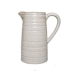 Silk Flower Arrangements Hosley 8 Inch High Cream Ceramic Pitcher Vase for Flowers Decorative Use. Ideal for Dried Floral Arrangements Gifts for Home Weddings Spa and Aromatherapy Settings.