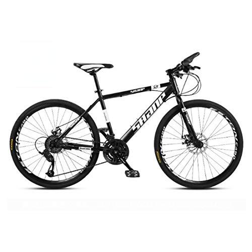 CPY-EX 26 Mountain Bike inch Uomo, Alta-Acciaio al Carbonio per Mountain Bike, Bicicletta della Montagna Sedile Regolabile, 21,23,27,30 velocità, Nero Rosso Bianco Spoke,Nero,30