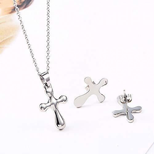 Burenqi eenvoudige kruis hangers sieraden set Sliver en goud roestvrij staal voor dames partij kruis hanger ketting met oorbellen