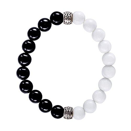 AIUIN - Bracciale elastico da 8 mm, con perle bianche e nere, per il fai da te, adatto come regalo di anniversario, Natale, San Valentino e perle, cod. SY-wwm072+SY-wwm071
