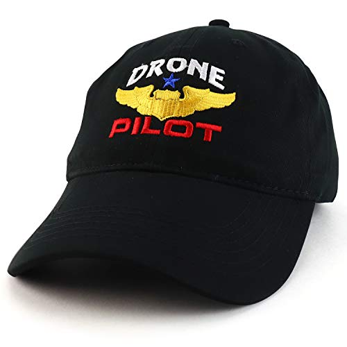 Trendy Apparel Shop Drone Pilot Aviation Wing Embroidered Soft Crown 100% Brushed Cotton Cap - Black