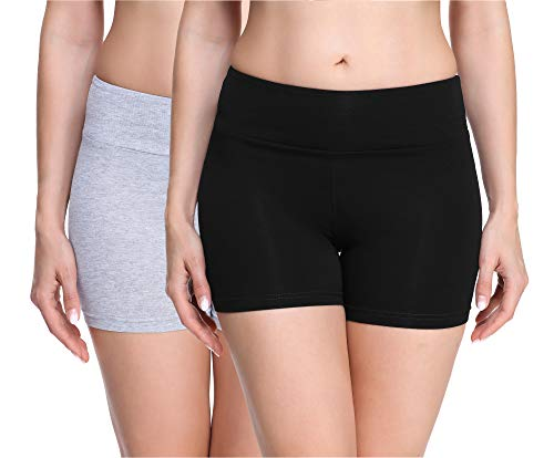 Merry Style Damen Shorts Radlerhose Unterhose Hotpants kurze Hose Boxershorts aus Viskose 2Pack MS10-284(2Pack Schwarz/Melange,S)