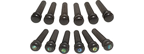 Taylor Ebony Bridge Pins Set of 6 Abalone