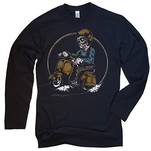 NG articlezz Hombre Manga Larga Scooter Oldschool Calavera - de Culto Camiseta para Todos Hombres con Gasolina en Sangre S-XXL - Negro/Negro, XL
