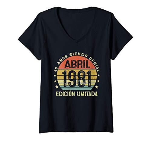 Mujer Nacido En Abril 1981 Regalo Hombre 40 Años Cumpleaños Mujer Camiseta Cuello V