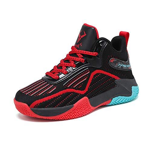DAYATA Zapatos de baloncesto de estampado de camuflaje para niños Zapatillas de deporte para niños y niñas, color Rojo, talla 33 EU