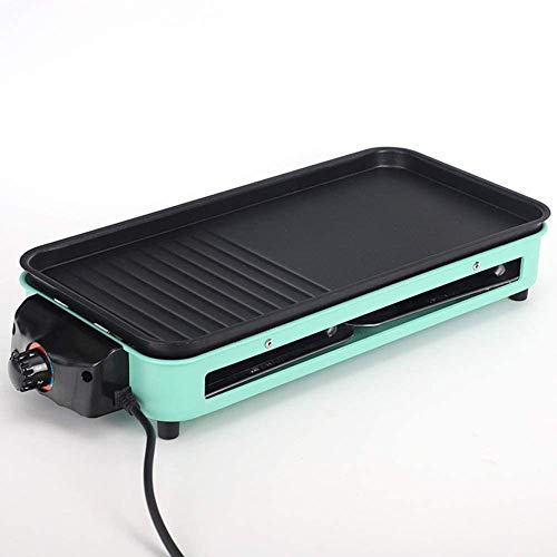 Rookloze Indoor Grill Elektrische Anti-aanbak Teppanyaki Bakplaat Elektrisch met Verwisselbare Bakplaat met 2 Lekbakken met 5 Niveaus Instelbaar Temperatuur Split Design Gemakkelijk te wassen 1500W
