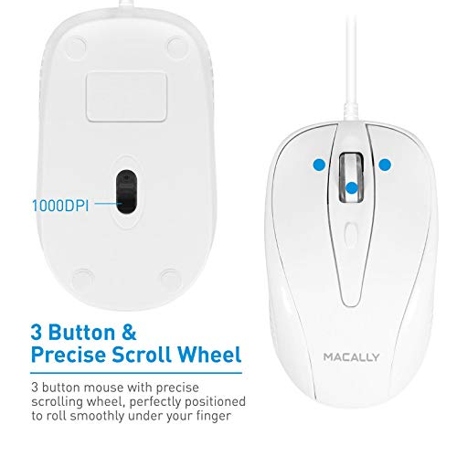 Macally USB Wired Mouse with 3 Button, Scroll Wheel, & 5 Foot Long Cord, Compatible with Apple Macbook Pro / Air, iMac, Mac Mini, Laptops, Desktop Computer, & Windows PC (TURBO)