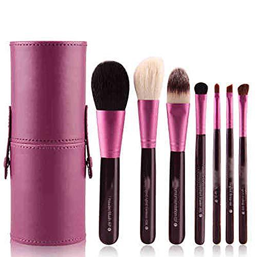 Pinceaux 6 Pcs Pinceau De Maquillage Ensemble Et Cas, La Poudre Pinceau Biseauté Contour Kabuki Pinceau Fard À Paupières Blending Pinceau Fond De Teint,Violet