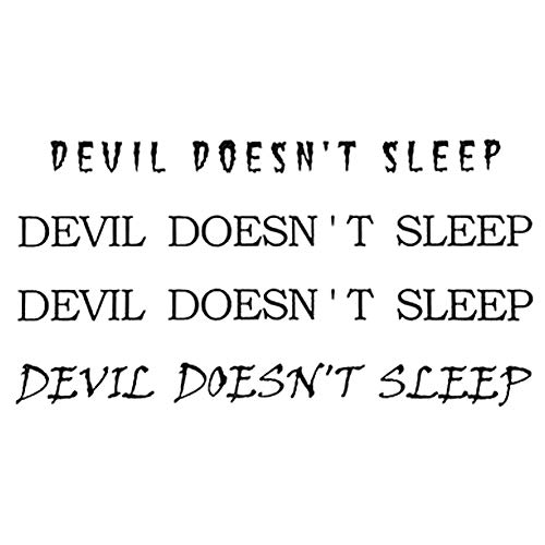 EROSPA® Tattoos-Bogen / Sticker temporär - Devil Doesn't Sleep - Schriftzug