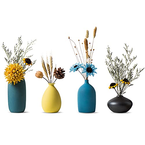Sziqiqi Vasi Piccoli in Ceramica per Fiori Set di Vasi Decorativi per Soggiorno Mini Vasi Fatti a Mano per la Decorazione di Centrotavola Vaso Moderno con Colori Opachi Morandi Set di 4