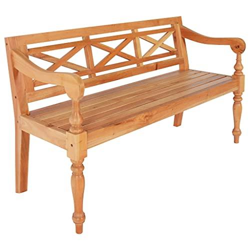 Batavia - Panchina da giardino, 2 posti, sedia da pranzo per interni ed esterni, per panca parco balcone, 136 cm, in legno di mogano massiccio, marrone chiaro