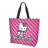 Dibujos animados Anime lindo Hello Kitty Pint Strip Line Mujeres Tote Bolsas de hombro Moda Chica Viajes Escuela Comestibles Lienzo Compras Viajes Viajes Viajar Durable Alta Capacidad
