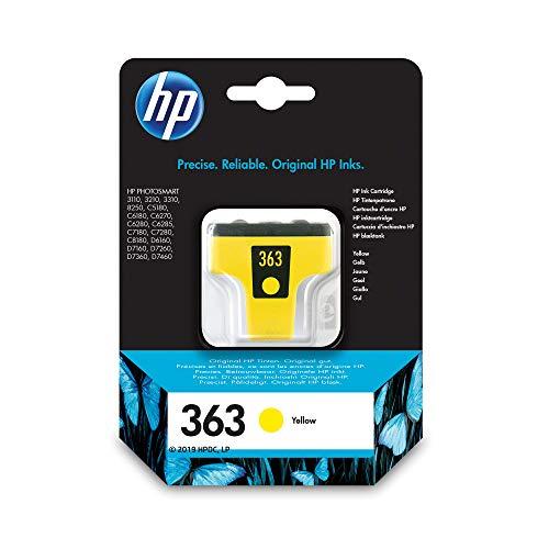 HP 363 C8773EE, Amarillo, Cartucho Original de Tinta, compatible con impresoras de inyección de tinta HP Photosmart Series 3100, 3200, 3300, 8200; Series C5180,D6100