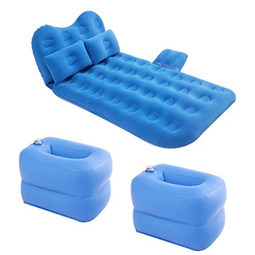 MELLRO Back Seat Inflatable Bed Inflatable Pump Car Air Bed Car Mattress Flocking Multifunctional SUV Car Head Protection Travel Bed Outdoor Camping Universal (Color : Blue, Size : 135x80cm)