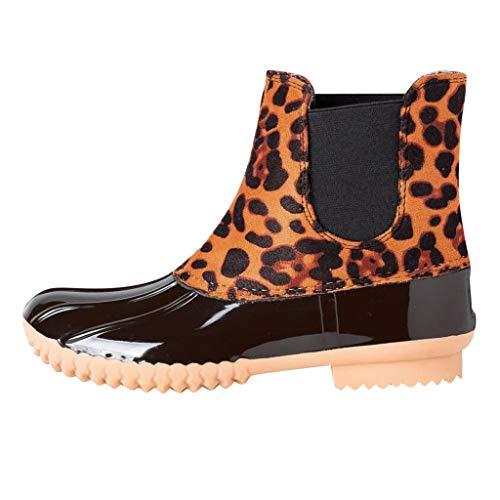 Flache Leopardenstiefel Serria Damenschuhe Leopard Regenstiefel Farblich passende Damen Kurze Stiefel wasserdichte Stiefel Gelb 35.5