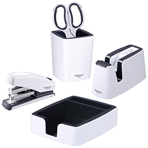 Comix Office-Desk Stationery 5 in 1 Kits: Pen-Holder, Sticky-Note Stand, Tape-Dispenser, Students' Scissors and Stapler for Home/School/Office use ED321