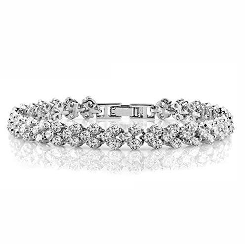 1 stuks armband dames meisjes zilver 925 met glitter zirkonia bloemen armband, eenvoudige edele bedelarmband als verjaardagscadeau voor vrouwen, mama, vriendin.