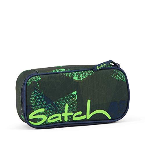 Satch Schlamperbox Infra Green, Mäppchen mit extra viel Platz, Trennfach, Geodreieck, Grün