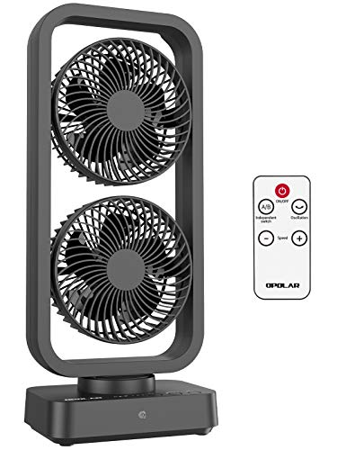 OPOLAR 10000mAh Oscillating Tower Fan with Remote, 16 inch Cordless Rechargeable Table Fan, Battery Operated Desk Fan, 3 Speeds, 350°Rotation, Fast Charging, Portable for Home Camping Outdoor