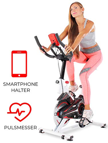 Miweba Sports Indoor Cycling MS100 Fitnessbike - 10 Kg Schwungmasse - Stufenfreie Widerstandsverstellung - Pulsmessung (Weiß)