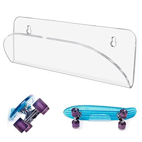 TOBWOLF Longboard Skateboards Rack, Wand-Skateboard-Displayständer aus klarem Acryl für Shortboard, Street Board, Snowboard, Ski, Wasserski