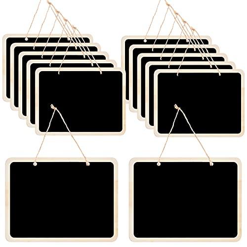 12 Piezas Mini Pizarra Colgante, Pizarras Negras de Madera Pequeñas, Mini Pizarrones de Tiza con Colgar Cuerda, Doble Lado Tablero de Mensajes Signos de Pizarra para Precios, Fiesta, 16 x 12 cm