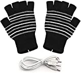 CawBing USB Heated Gloves, Heated Fingerless Gloves for Man and Woman, Warm Laptop Gloves, Computer Gloves Knitting Hands Warmer Washable Design (Striped Black)