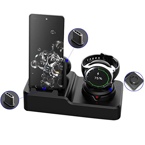 HATALKIN 3 in 1 Charger Stand Compatible with Samsung Galaxy Watch 3 41/45mm, Active 2/1,Gear S3 Charger Dock, Samsung Galaxy Note 20/10/10/9/8, S21/S20/S10,Galaxy Buds/Pro (Not Include Watch Charger)
