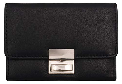 BelleBay Kompakte Geldbörse | Leder Kleingeldbörse - Scheinbörse | Kleingeldschütte - Minibörse - Portmonee | Kleine Münzbörse mit Scheinfach | Portemonnaie (Schwarz)