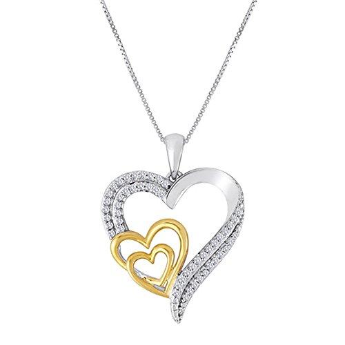 Ani's Collar de cadena de 1/10 quilates con diamante de circonita cúbica transparente en dos tonos chapado en oro de 38 pulgadas