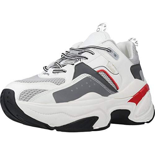 Buffalo Damen Sneaker Crevis P2, Frauen Low-Top Sneaker, Halbschuh strassenschuh schnürer schnürschuh sportschuh Plateau-Sohle,White,39 EU / 6 UK
