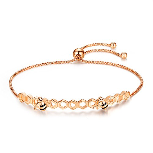 Qings Bee Bracelet Adjustable Rose Gold Sterling Silver Charm Bracelets for Woman and Girls