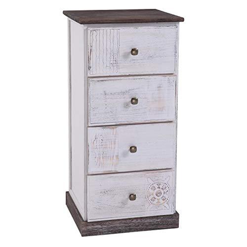 CARO-Möbel Nachttisch Juna Nachtschrank Nachtkonsole für Boxspringbett mit 4 Schubladen, grau/weiß Shabby Chic Vintage