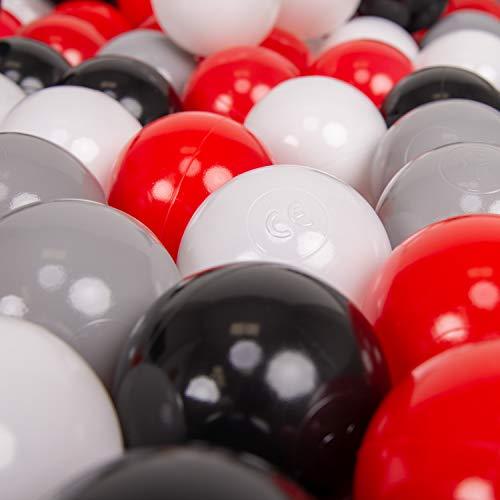 KiddyMoon 50 ∅ 7Cm Balles Colorées Plastique pour Piscine Enfant Bébé Fabriqué en EU, Gris/Blanc/Rouge/Noir