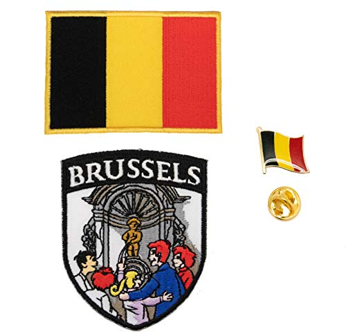 A-ONE 3 Stück – Brüsseler Sehenswürdigkeitsschild + Belgische Flagge + Belgische Flagge Abzeichen, Manneken PIS Stickerei Eisen Aufnäher & Anstecknadel