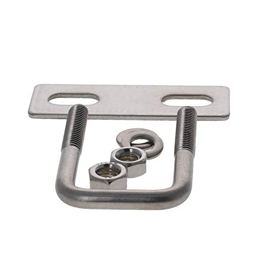 MroMax 4Pcs 304 Stainless Steel M6 Thread Silver Square Bend U Bolts with Nuts, Washers and Frame Plate 0.98