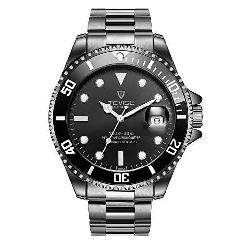 Dailyinshop TEVISE T801 Hombres Reloj mecánico automático Reloj de Pulsera Luminoso de la Moda 30M Reloj Deportivo Reloj de Pulsera de Acero a Prueba de Agua Todos los días (Color: Banda Negro)