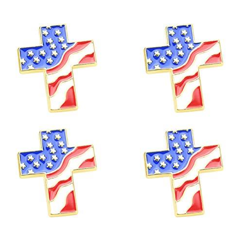Amosfun 4pcs Cross Brooch American Flag Gold Cross Religious Military Patriotic Lapel pin Costume Accessories