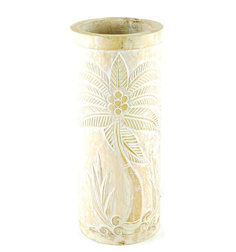 Portaombrelli o vaso in legno, 50 cm, decorazione palma – colore naturale cerato, bianco