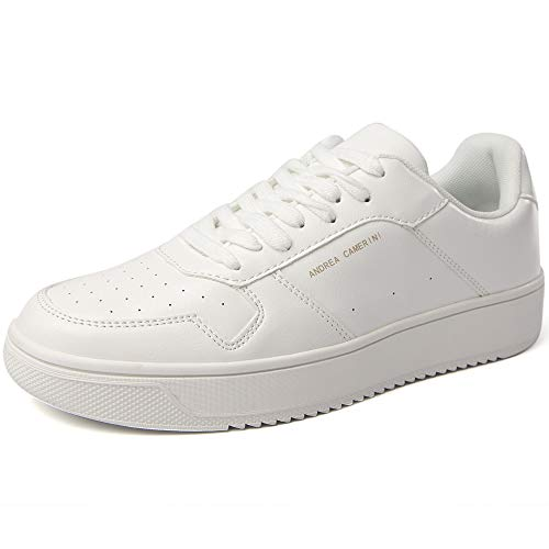 ANDREA CAMERINI Women's Fashion Sneakers Low Top Trainers Lace Up Platform Sneakers Casual Leather Walking Shoes Flatform Sneakers for Women(White)
