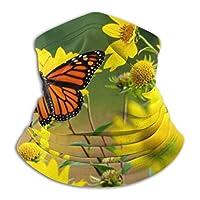 メンズネックウォーマー ぼやけた背景を持つ黄色のヒマワリで休む美しいモナーク蝶 春 秋 冬 防寒対策 保温 防風 裏ボア ふわふわ 暖かい 首巻き 無地 男女兼用 小顔効果抜群 26X30CM