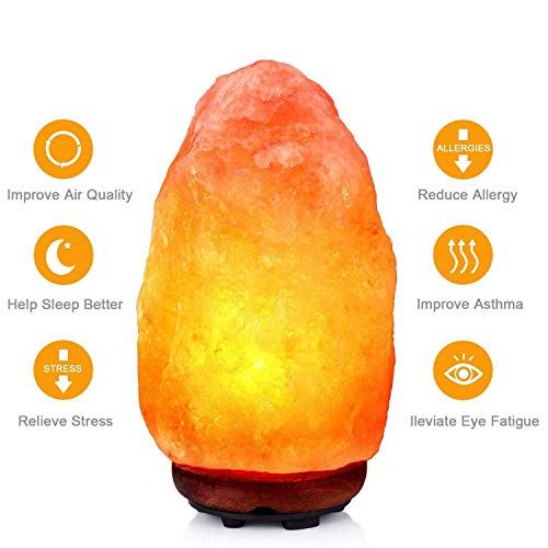 Original Himalayan Authentic Pink Crystal Rock Salt Lamp - Bedside Mood Wooden Base Lamps Premium Quality for Good Health Natural Remedies (3-5 KG)
