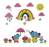 Wandtattoos Kinder Küche Elefant Unter Dem Regenbogen Hintergrund Cartoon Schule Tapete Kindergarten Diy Wohnzimmer Schlafzimmer Wandbild