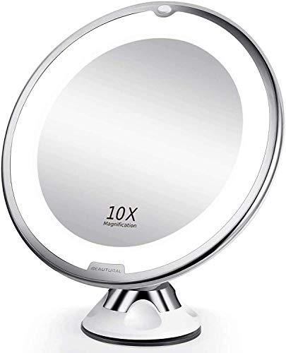 BEAUTURAL Grossissant Miroir Maquillage 10x avec Lumières LED 1 Joint à Bille d'attache Ajustable à 360° Miroir Cosmétique Portable, pour Salle de Bain, Voyage
