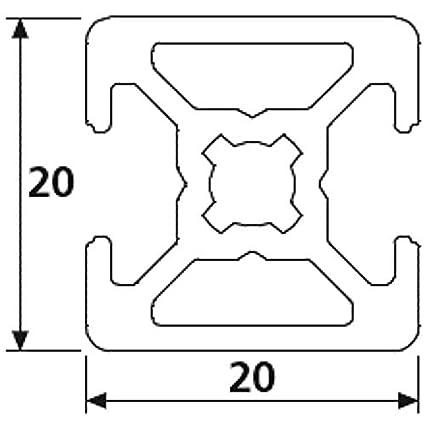 Design Profile Aluminium Profile 20 x 20 B Type Nut 6 Radius 17 Cut to 2000 mm