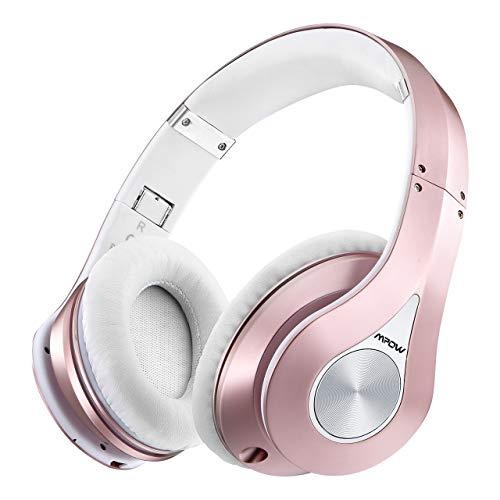 Mpow 059 Auriculares Diadema Bluetooth con Micrófono CVC 6.0, 25 hrs de Duración, Sonido Estéreo, Auriculares Diadema Inlámbricoa para TV, Cascos Bluetooth Diadema para Skype/PC/Móvil, Rosa Dorada